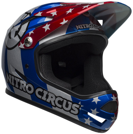 Kask downhill BELL SANCTION nitro circus gloss silver blue red