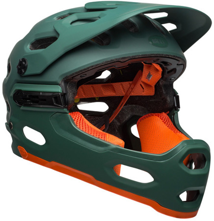 Kask full face BELL SUPER 3R MIPS matte green orange