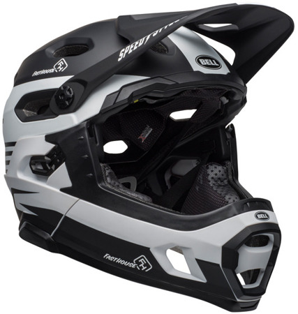 Kask rowerowy BELL Super DH MIPS spherical fasthouse stripes matte black white
